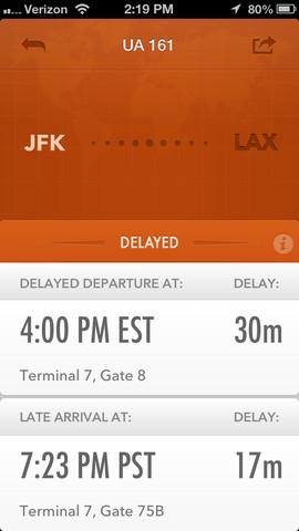 GateGuru flight delay screen