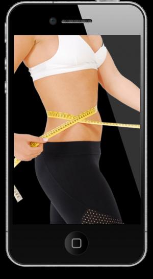 woman measuring waist on iphone screen