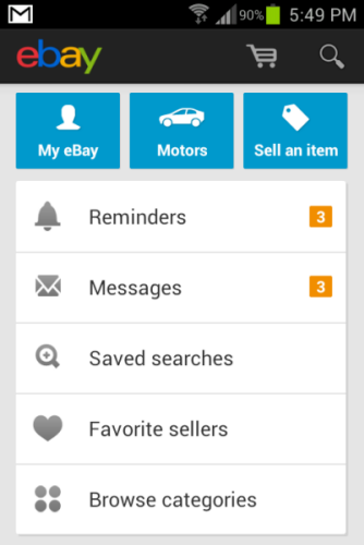 eBay apps has many account management features.