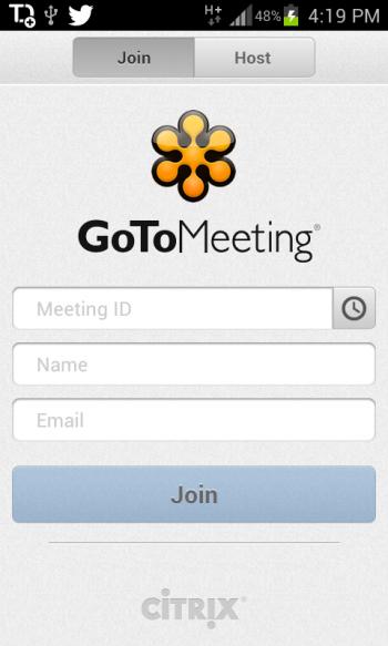 GoToMeeting app login screen