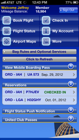 United Airlines app screenshot