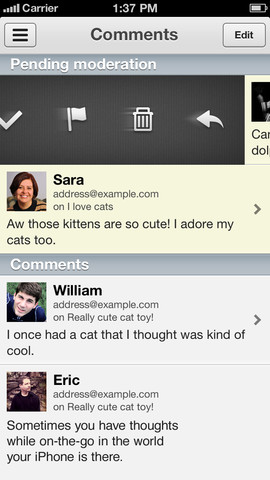 Wordpress app for iOS screenshot