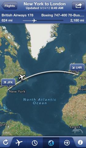 FlightTrack iOS travel app screenshot